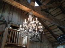 highlighted trusses with candelabra