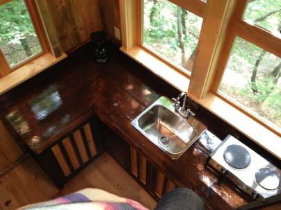 birds eye view on the new tree house kitchen