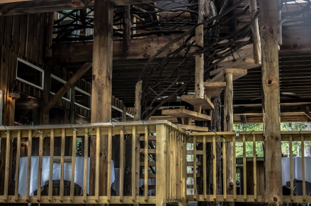 lower level deck and winding stairs prepared for guests